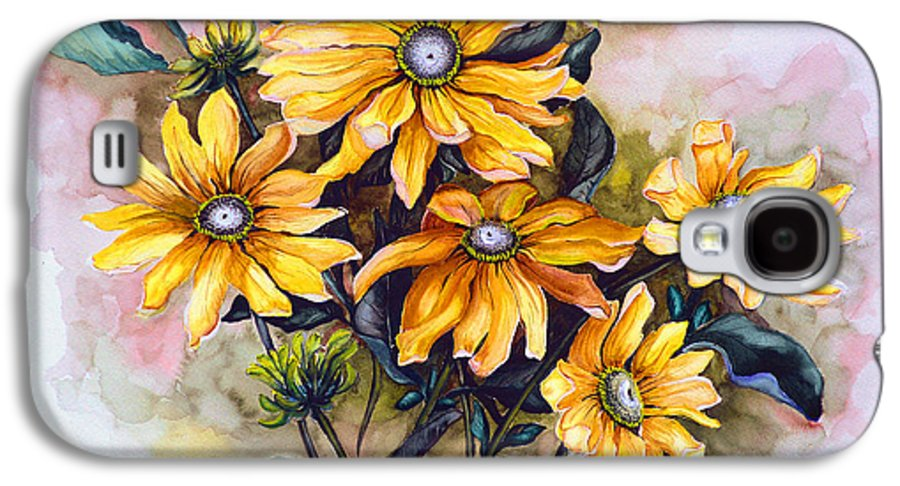 Flower Painting Sun Flower Painting Flower Botanical Painting  Original Watercolor Painting Rudebeckia Painting Floral Painting Yellow Painting Greeting Card Painting Galaxy S4 Case featuring the painting Rudbeckia Prairie Sun by Karin Dawn Kelshall- Best