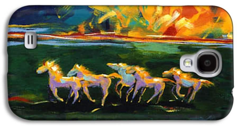 Abstract Horse Galaxy S4 Case featuring the painting Run From The Sun by Lance Headlee