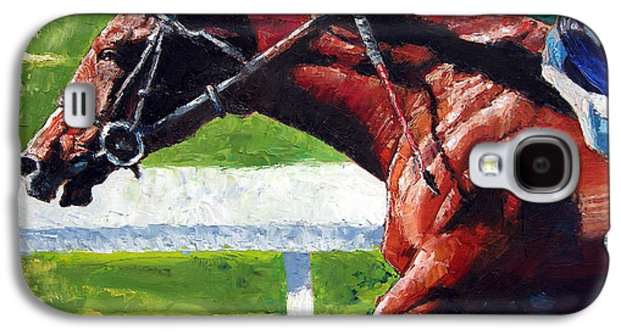 Horse Race Galaxy S4 Case featuring the painting Running Towards The Light by John Lautermilch