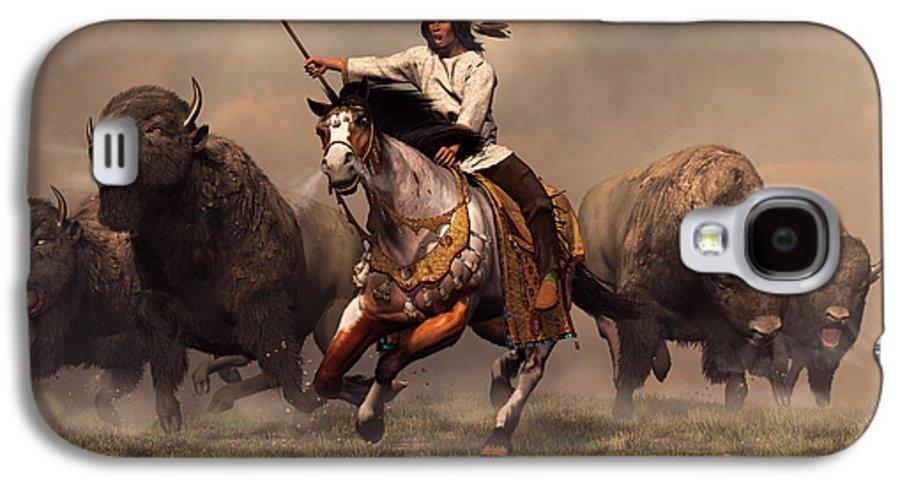Western Galaxy S4 Case featuring the digital art Running With Buffalo by Daniel Eskridge