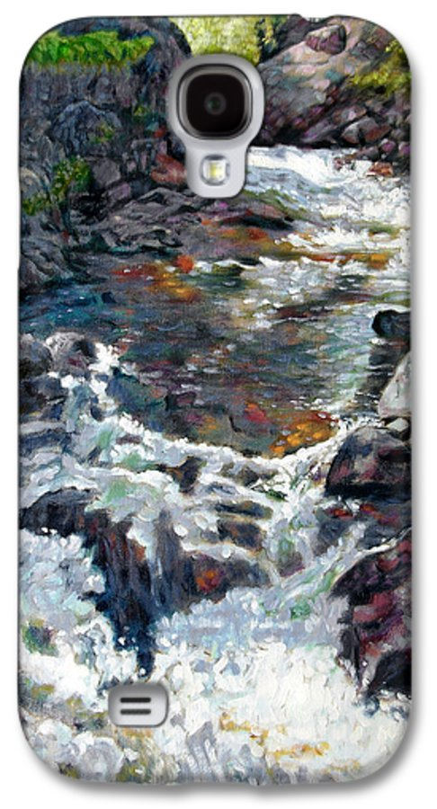 A Fast Moving Stream In Colorado Rocky Mountains Galaxy S4 Case featuring the painting Rushing Waters by John Lautermilch