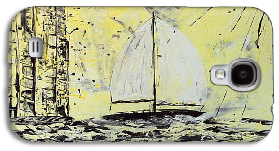 Abstract Galaxy S4 Case featuring the painting Sail And Sunrays by J R Seymour