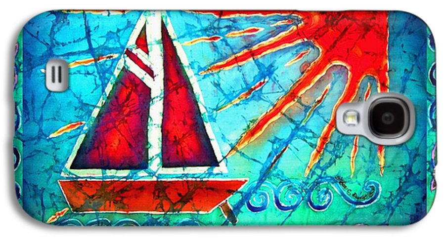 Sailboat Galaxy S4 Case featuring the painting Sailboat In The Sun by Sue Duda