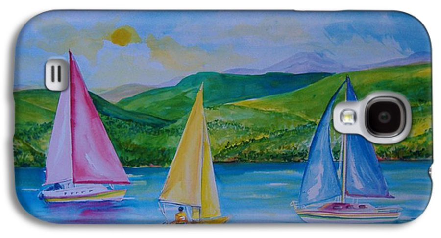 Sailboats Galaxy S4 Case featuring the painting Sailboats by Laura Rispoli
