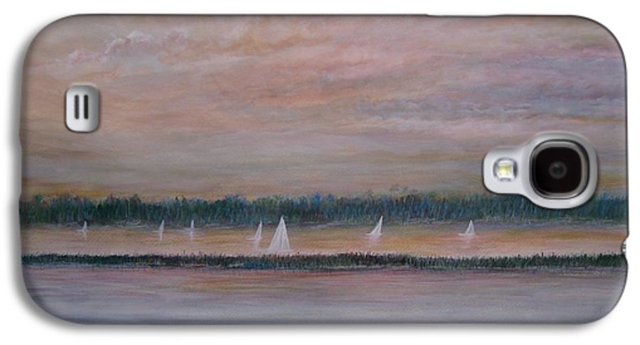 Sailboats; Marsh; Sunset Galaxy S4 Case featuring the painting Sails In The Sunset by Ben Kiger