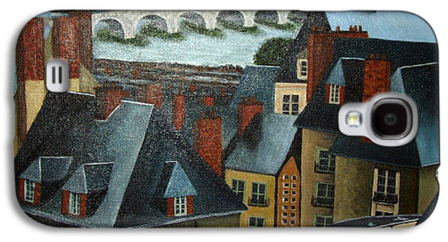 Acrylic Galaxy S4 Case featuring the painting Saint Lubin Bar In Lyon France by Nancy Mueller