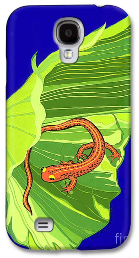 Nature Galaxy S4 Case featuring the drawing Salamander by Lucyna A M Green