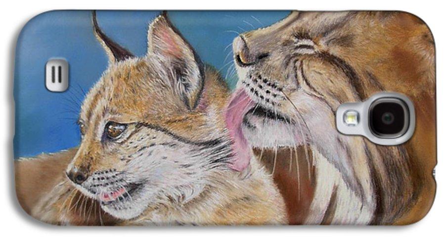 Iberian Lynx Galaxy S4 Case featuring the painting Saliega Y Brezo by Ceci Watson