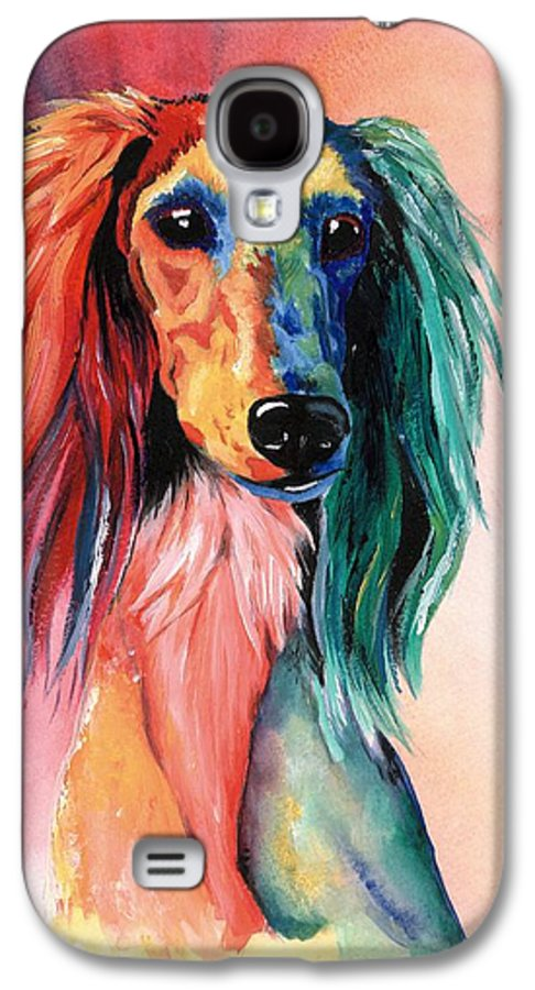 Saluki Galaxy S4 Case featuring the painting Saluki Sunset by Kathleen Sepulveda