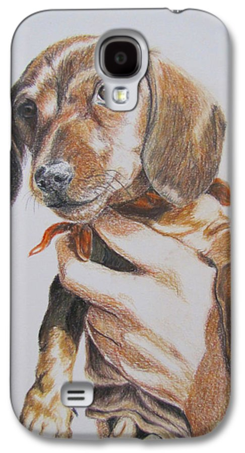 Puppy Galaxy S4 Case featuring the drawing Sambo by Karen Ilari