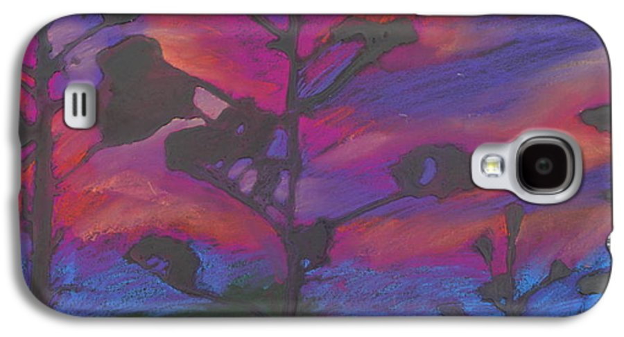 Contemporary Tree Landscape Galaxy S4 Case featuring the mixed media San Diego Sunset by Leah Tomaino