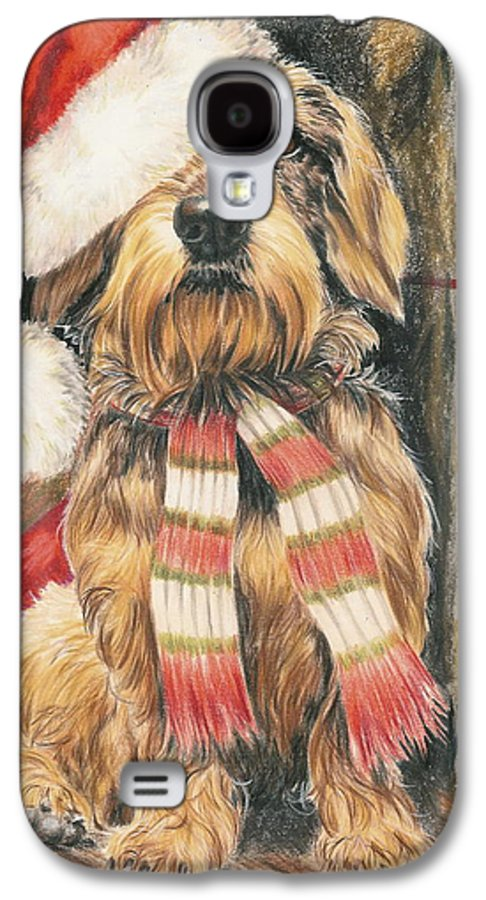 Hound Group Galaxy S4 Case featuring the drawing Santas Little Yelper by Barbara Keith