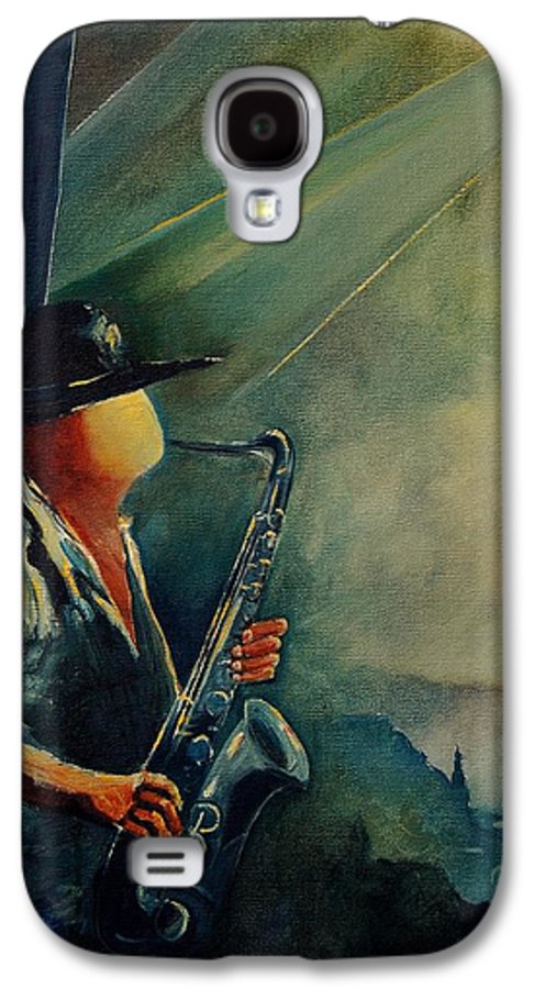 Music Galaxy S4 Case featuring the painting Sax Player by Pol Ledent