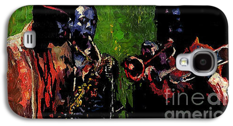 Jazz Galaxy S4 Case featuring the painting Saxophon Players. by Yuriy Shevchuk
