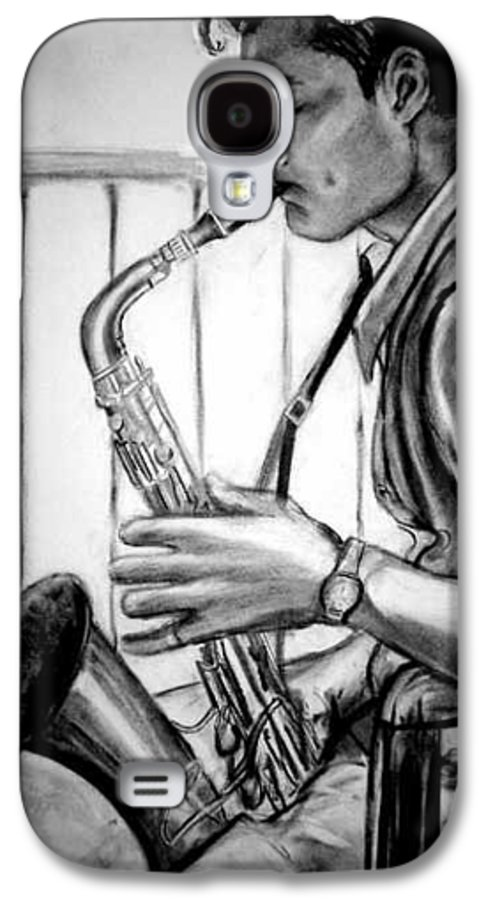 Handsome Man Galaxy S4 Case featuring the drawing Saxophone Player by Laura Rispoli