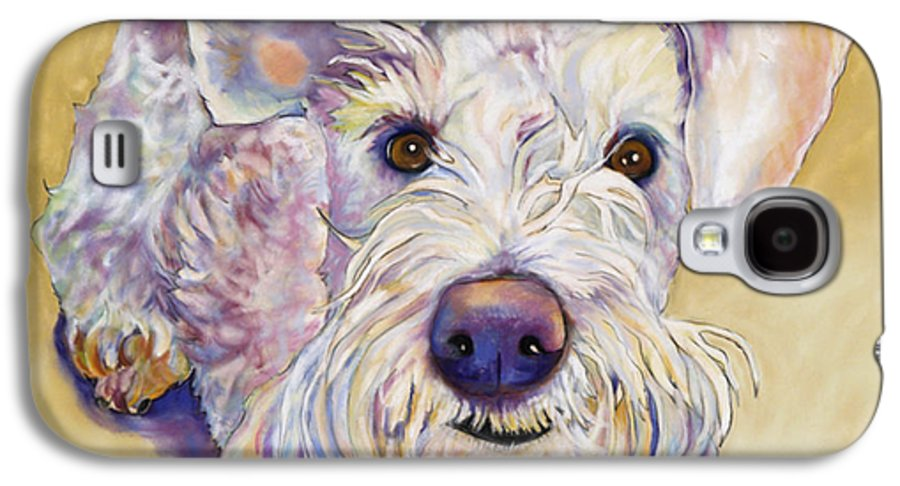Schnauzer Galaxy S4 Case featuring the pastel Scooter by Pat Saunders-White
