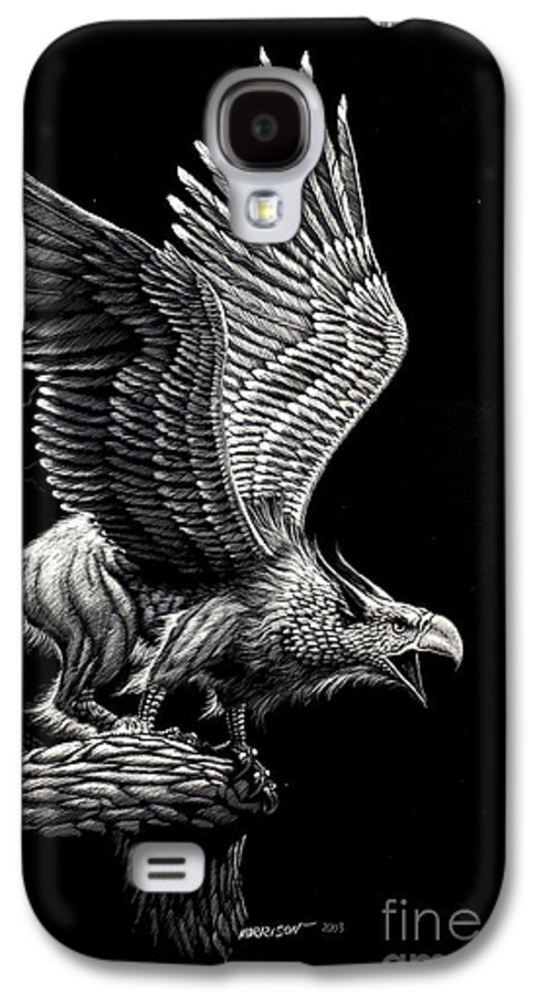 Griffon Galaxy S4 Case featuring the drawing Screaming Griffon by Stanley Morrison