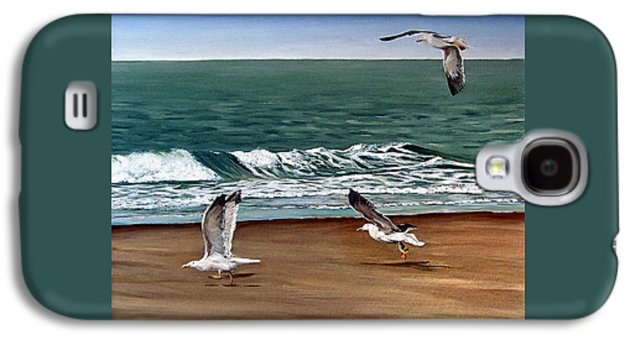 Seascape Galaxy S4 Case featuring the painting Seagulls 2 by Natalia Tejera