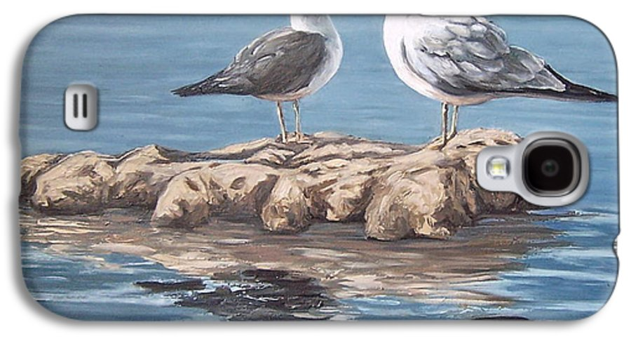 Seagulls Sea Seascape Water Bird Galaxy S4 Case featuring the painting Seagulls In The Sea by Natalia Tejera