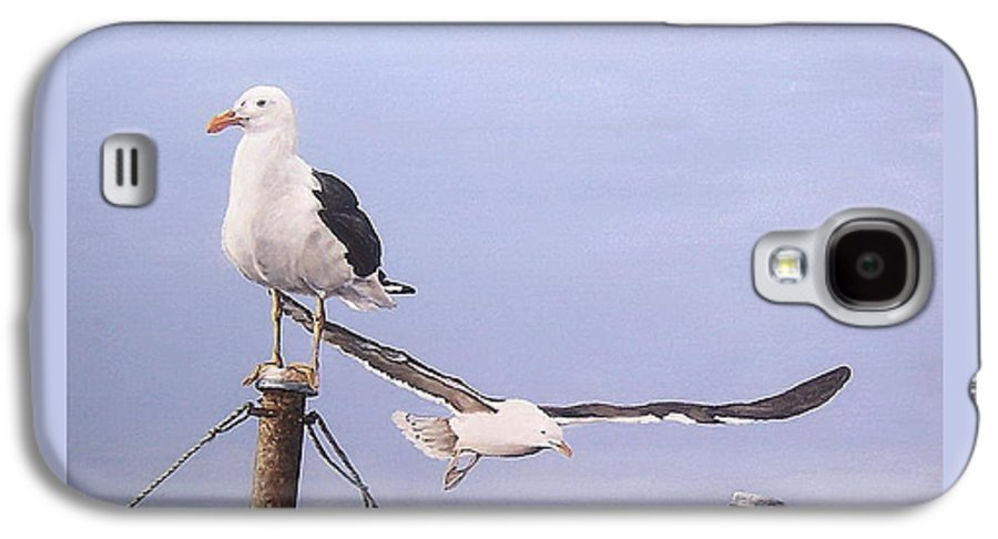 Seascape Gulls Bird Sea Galaxy S4 Case featuring the painting Seagulls by Natalia Tejera