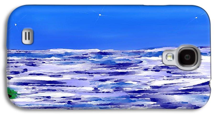 Sea.evening.night.silence.water.waves.deep Water.quiet .coast.sky.stars.calm.no Wind Galaxy S4 Case featuring the digital art Sea.moon Light by Dr Loifer Vladimir