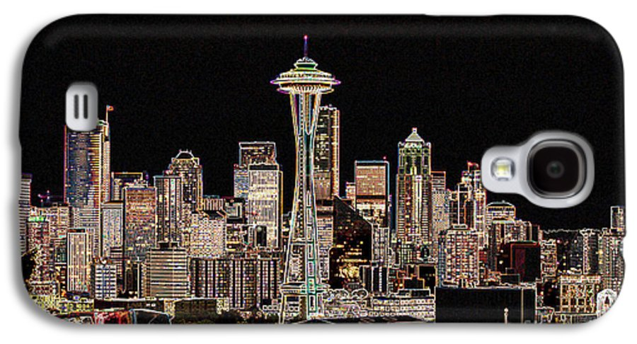 Colorful Galaxy S4 Case featuring the photograph Seattle A Glow by Larry Keahey