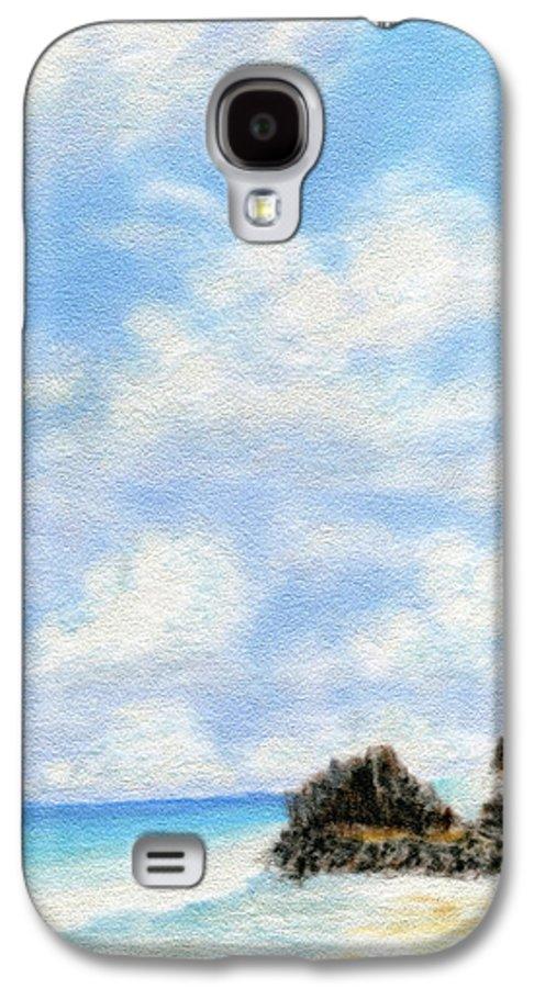 Coastal Decor Galaxy S4 Case featuring the painting Secret Beach Sky by Kenneth Grzesik