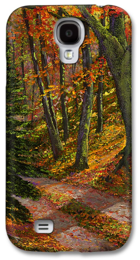 Road In The Woods Galaxy S4 Case featuring the painting September Road by Frank Wilson