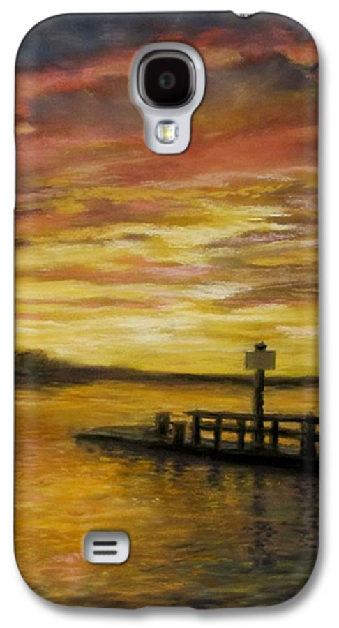 Sunset Galaxy S4 Case featuring the painting Sesuit Harbor At Sunset by Jack Skinner