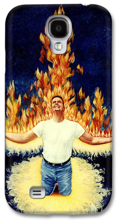 Holy Spirit Fire Galaxy S4 Case featuring the painting Set Aflame by Teresa Carter