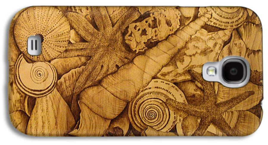 Pyrography; Sepia; Shells; Sea Shells; Starfish; Ocean; Sea; Underwater; Sea Life; Galaxy S4 Case featuring the pyrography Settled by Jo Schwartz