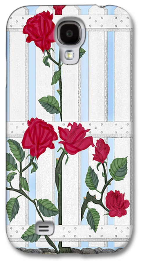 Roses Galaxy S4 Case featuring the painting Seven Roses For Mary by Anne Norskog