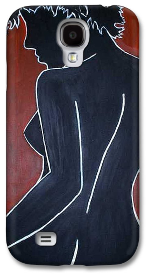 Nude Galaxy S4 Case featuring the painting Shadow by Thomas Valentine