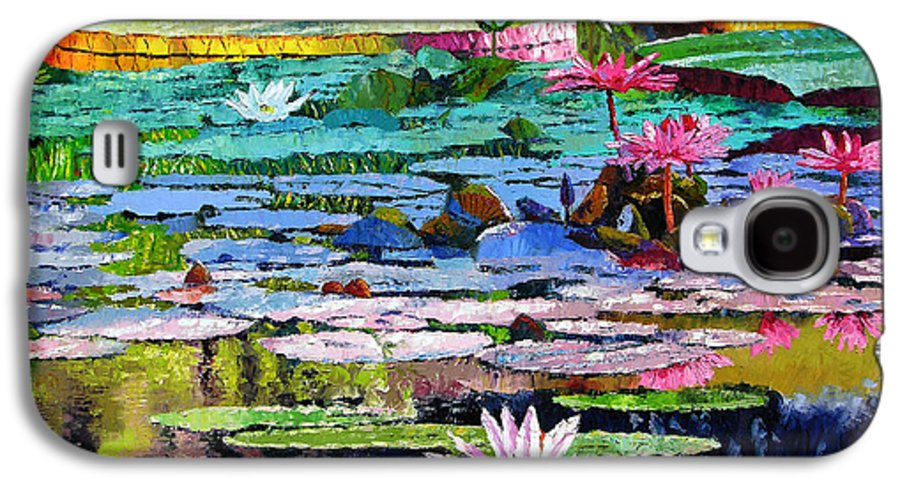 Water Lilies Galaxy S4 Case featuring the painting Shadows And Sunlight by John Lautermilch