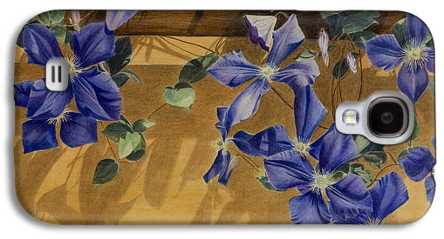 Clematis Galaxy S4 Case featuring the painting Shadows Dancing by Nik Helbig