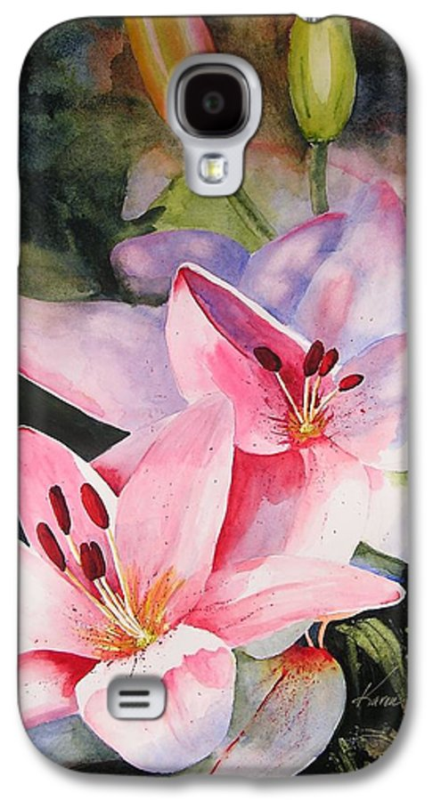 Lilies Galaxy S4 Case featuring the painting Shady Ladies by Karen Stark