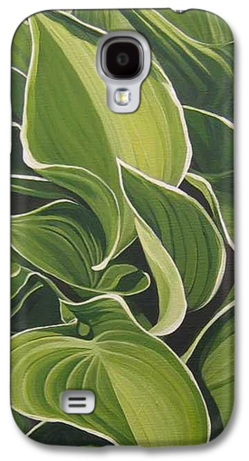 Closeup Of Hosta Plant Galaxy S4 Case featuring the painting Shapes That Go Together by Hunter Jay