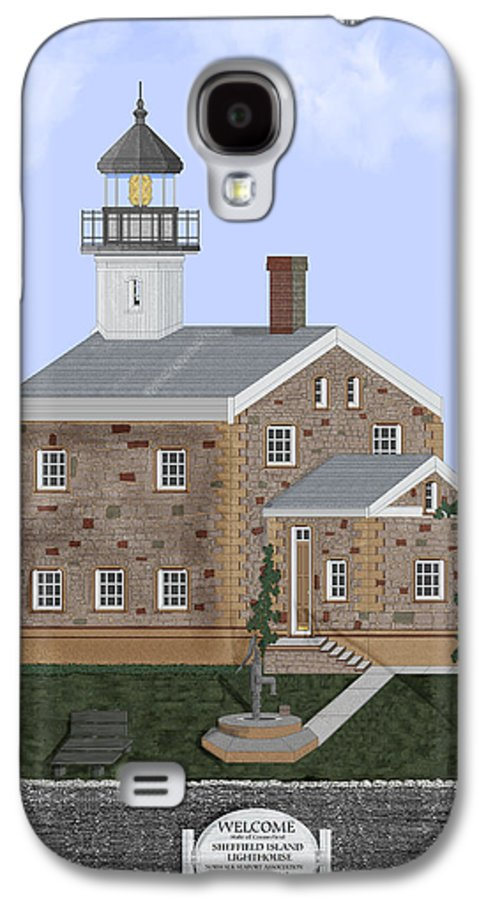 Lighthouse Galaxy S4 Case featuring the painting Sheffield Island Lighthouse Connecticut by Anne Norskog