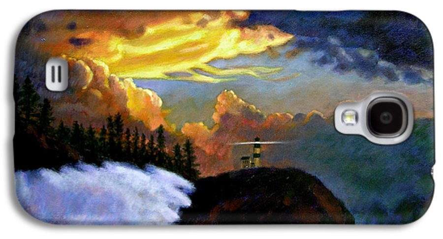 Ocean Galaxy S4 Case featuring the painting Shelter From The Storm by John Lautermilch