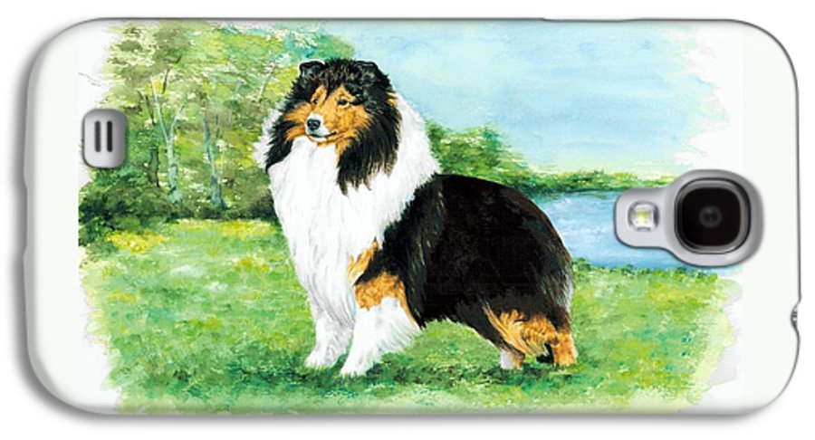 Shetland Sheepdog Galaxy S4 Case featuring the painting Sheltie Wait by Kathleen Sepulveda