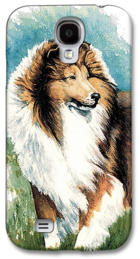 Shetland Sheepdog Galaxy S4 Case featuring the painting Sheltie Watch by Kathleen Sepulveda