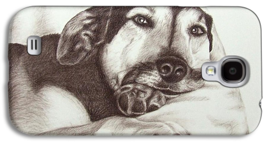 Dog Galaxy S4 Case featuring the drawing Shepherd Dog Frieda by Nicole Zeug