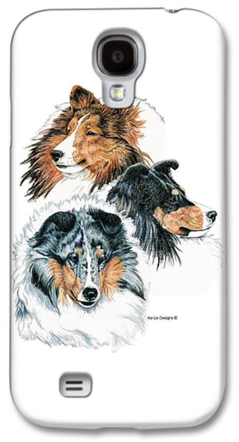 Shetland Sheepdog Galaxy S4 Case featuring the drawing Shetland Sheepdogs by Kathleen Sepulveda
