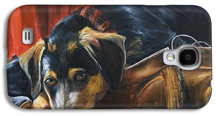 Dog Galaxy S4 Case featuring the painting Shoe Dog by Nik Helbig