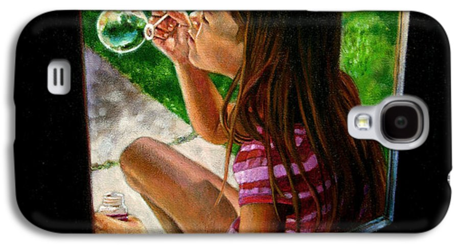 Girl Galaxy S4 Case featuring the painting Sierra Blowing Bubbles by John Lautermilch