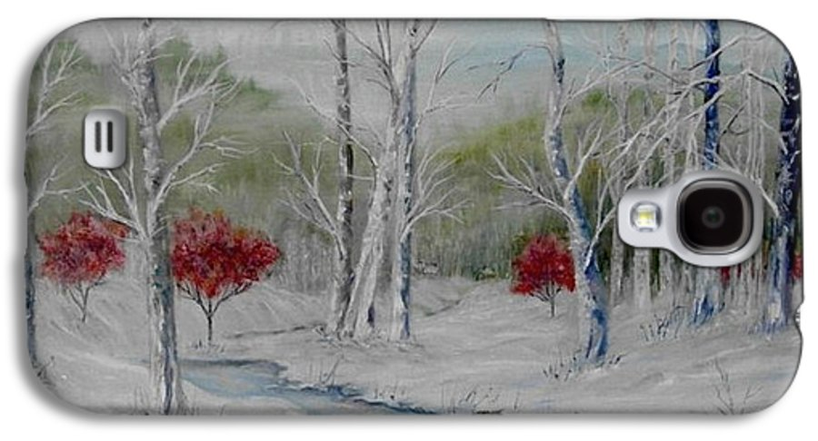 Snow; Winter; Birch Trees Galaxy S4 Case featuring the painting Silence by Ben Kiger