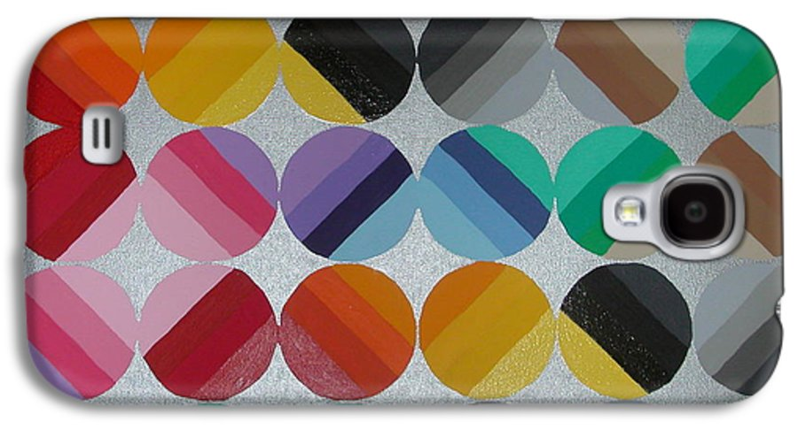 Circles Of Yellow Galaxy S4 Case featuring the painting Silver Lining by Gay Dallek