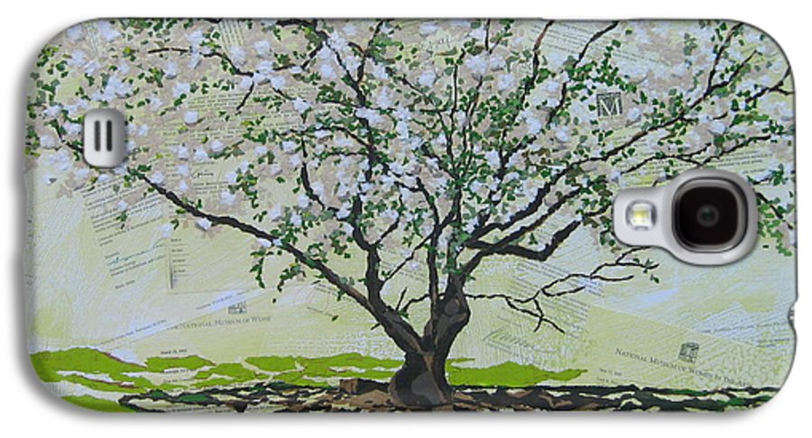 Apple Tree Galaxy S4 Case featuring the painting Sincerely-the Curator by Leah Tomaino