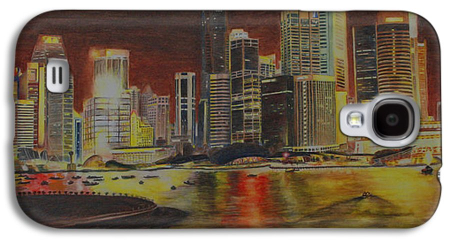 Cityscape Galaxy S4 Case featuring the painting Singapore Nights by Nik Helbig