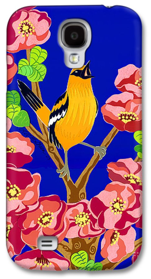 Nature Galaxy S4 Case featuring the drawing Singing Oriole by Lucyna A M Green